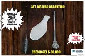 SET MATE ARGENTINO ! BOMBILLA MATE de ACERO PALA con LIMPIA BOMBILLA con PALA PARA YERBA MATE ,!