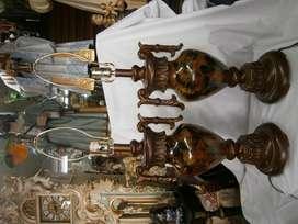 LAMPARAS DE MESA CRISTAL NEGRO Y MARMOLINA X2 UNIDADES PRECIO X C/U