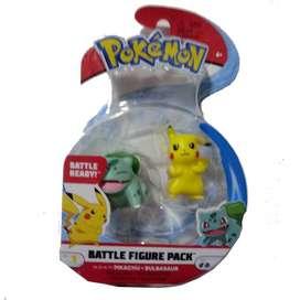 Pokemon Figura De Batalla Pikachu & Bulbasaur