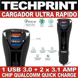 Cargador Rapido Auto Qualcomm Qc 3.0 Doble Usb 3.1 Amp