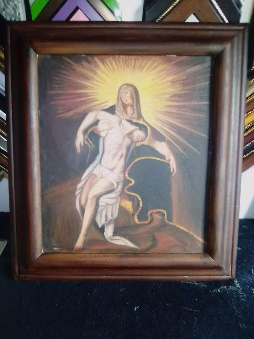 Cuadro óleo la piedad  de 45 por 50 cm enmarcado. Original lienzi
