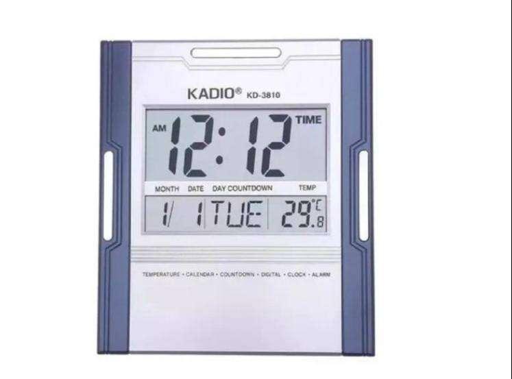 Reloj Pared Kadio Digital Hora Fecha Alarma Termometro 0