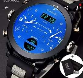 Reloj BOAMIGO tipo Militar,deportivo azul digital LED