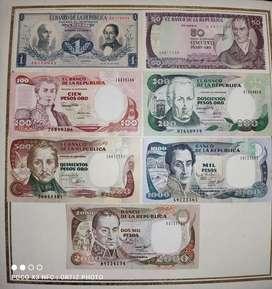 Billetes Colombianos Antiguos en perfecto estado. Sólo para conocedores y coleccionistas