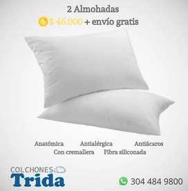 Dos (2) Almohadas de fibra siliconada con cremallera
