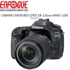 Camara canon 80d lente 18-135mm