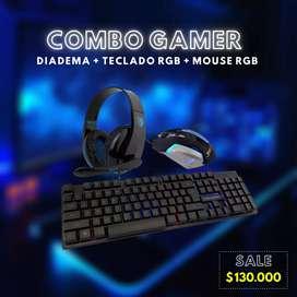 Combo Gamer (Diadema + Teclado RGB + Mouse RGB)