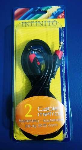 Cable Auxiliar De Plug 3.5 Mm En Ambos Extremos (2 Metros)