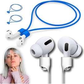 Cable Siliconado Antiperdida Magnetico Para Audifonos Bluetooth AirPods Azul