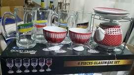 Copas, Vasos y tetera y platos de mesa NUEVOS