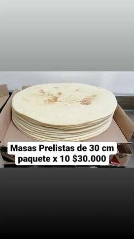 Masas de pizzas prelistas