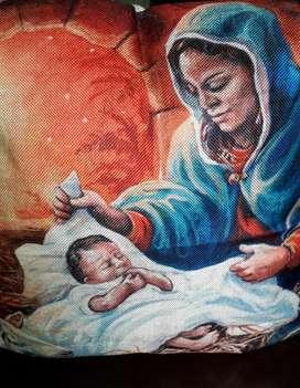 Funda Niño Jesús Importada 45x45 Lino sin relleno