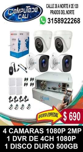CCTV KIT 4 CAMARAS 1080P 2MP INSTALADAS