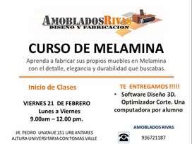 CURSOS DE MELAMINA - ¿DESEAS DISEÑAR TUS PROPIOS MUEBLES? - INICIO VIERNES 21/FEB  -  PREGUNTA PRECIO PROMOCIONAL.