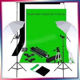 Estudio Fotográfico Completo Pro Estructura de 3 por 2.30m + 3 fondos de 4 por 3m + 3 Mini fondos y mucho más