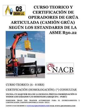 CERTIFICACIÓN DE OPERADOR DE CAMION GRÚA