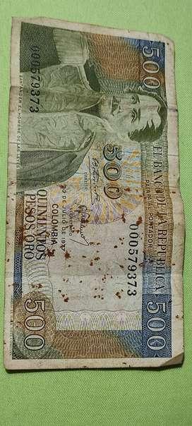billete 500 pesos de 1977 colombia