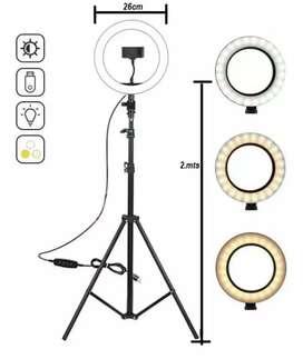 Aro de Luz LED 26cm + Trípode 2mts