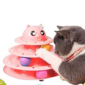Juguete Interactivo Torre para Gatos 3 Niveles 3 Bolas (Rosado)