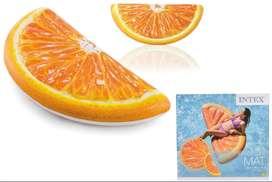 Colchoneta Inflable En Forma De Naranja Piscina Intex  1.78mx85cm