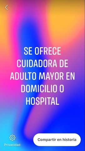 se ofrece cuidadora de adultos en domicilio o hospital