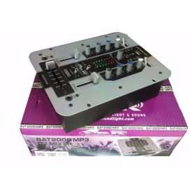 MIXER CONSOLA MEZCLADORA DJ GBR BAT 2000 MP3 USB