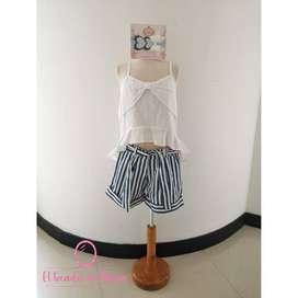 Conjunto Blusa Blanca/Short Rayas