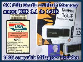 60 Pélis en Flash Memory 3.1 16GB