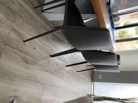 Vendo 8 sillas para comedor en cuerina gris oscuro