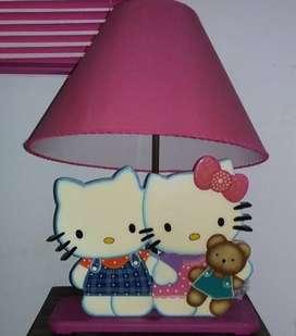 Lámpara + Espejo con repisa de hello kitty