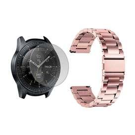 Vidrio Templado Y Correa De Metal Acero Inoxidable Smartwatch Reloj Inteligente Samsung Galaxy Watch 42mm