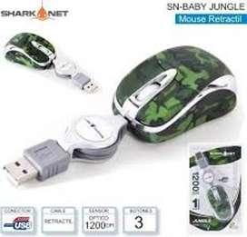 Mini Mouse Retractil Sharknet Jungle 1200dpi