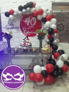 Decoración para 15 años fiestas infantiles y cumpleaños arco en bombas de todo tipo y muy economicos