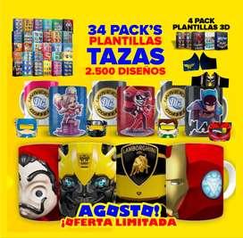 34 PACKS DISEÑO DE TAZAS PARA SUBLIMAR