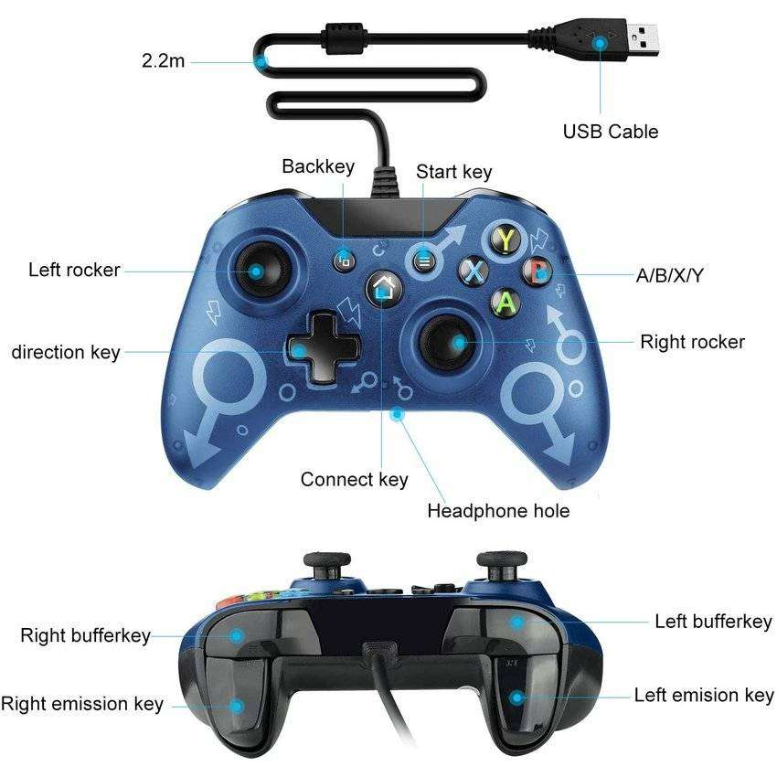 Control Alambrico Para Xbox One N1 Con Vibracion Compatible Con One, One S, One X, One Elite, PC (Windows 7/8/10)