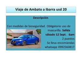 Viaje de Ambato a Ibarra USD 20
