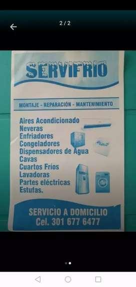Servicio tecnico a domicicilio de neveras lavadoras aires acondicionado estufa congeladora