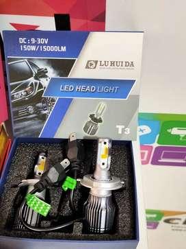 Luces led T3 Luz blanca, amarilla y azul  15000 Lúmenes  H4- H7 -H8 - H 11