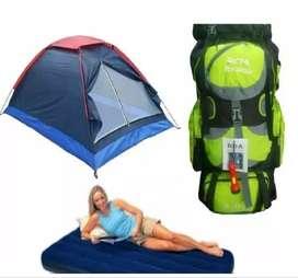 Super Combo Carpa Camping 4 Personas Colchon Bomba Morral Rda