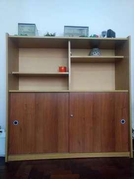 Biblioteca con estantes y puerta corrediza