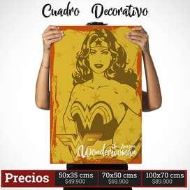 Cuadro Decorativo de Mujer Maravilla Comic Style
