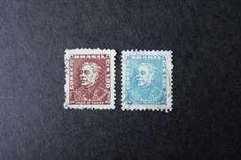 2 ESTAMPILLAS BRASIL, 1954, DUQUE DE CAXIAS, USADAS