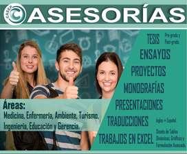 Asesoría especializada en Tesis, Artículos, Proyectos