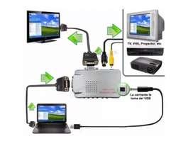 Adaptador Convertidor Vga A Rca Tv S-video Con Cables Oferta