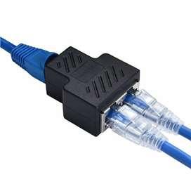 Divisor Splitter RJ45 hembra de 1 a 2 vías LAN Ethernet Cable de red