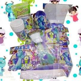Kit Decoración Piñata Fiesta Infantil Monster 12 Invitados