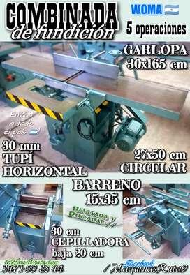 COMBINADA WOMA 5 OPERACIONES (máquina carpintería fábrica mueble conbinada garlopa cepilladora tupí)