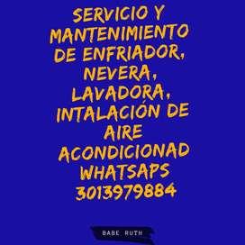 Servicio técnico a Domicilio refrigeradores neveras lavadora e instalación de aires acondicionados y cuartos frios