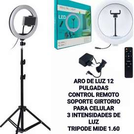 Aro de Luz 12 pgs , control remoto y trípode