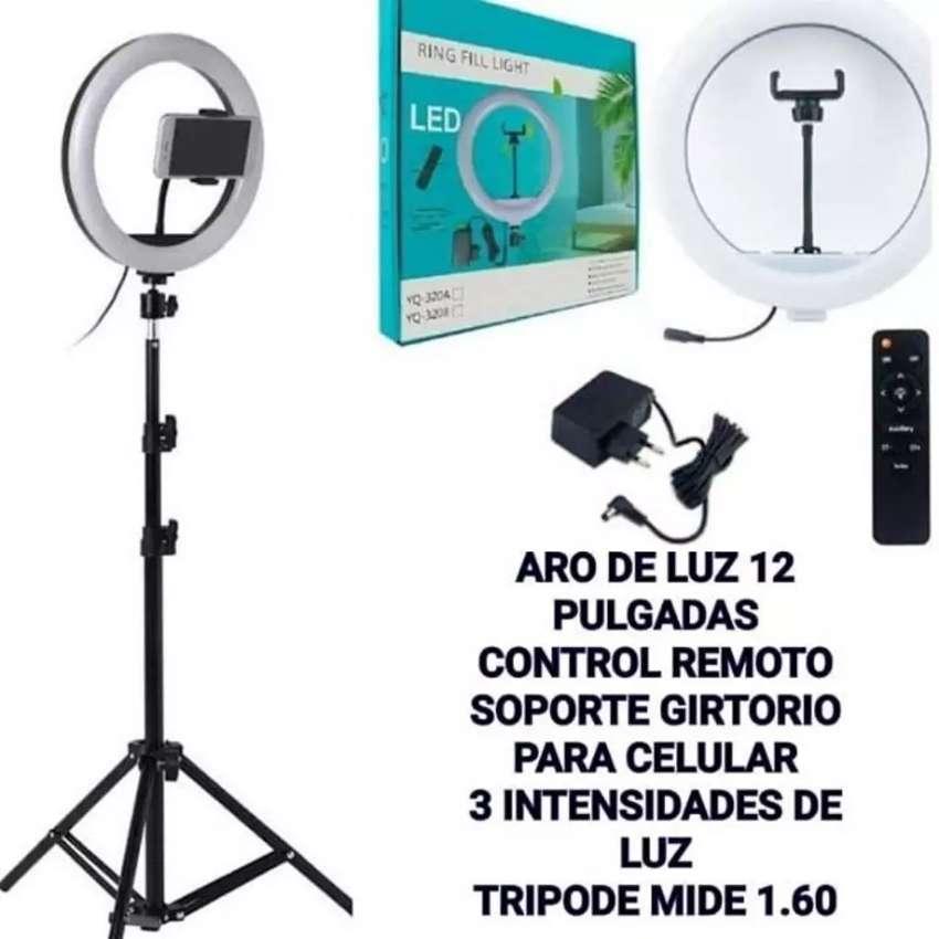 Aro de Luz 12 pgs , control remoto y trípode 0